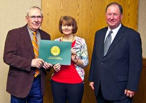 Cheryl Cheadle receiving Service Award