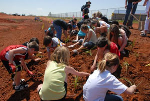 image of students playing in soil