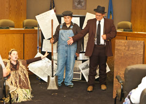 image of Hanna Hood, Brock Hutchison and Donovan Rogers in Dust Bowl dramatization.