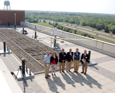 image of employees at Green Roof Open House, Nat'l Weather Center