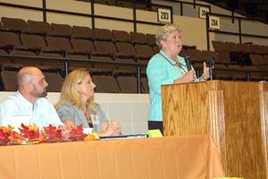 image of Jari Askins speaking at podium