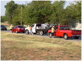 image of cars in line at eCycles day.
