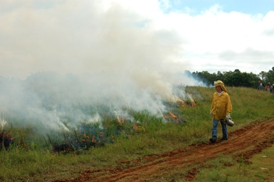 image of man walking near prescribed burn