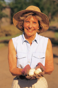 image of woman holding eggs